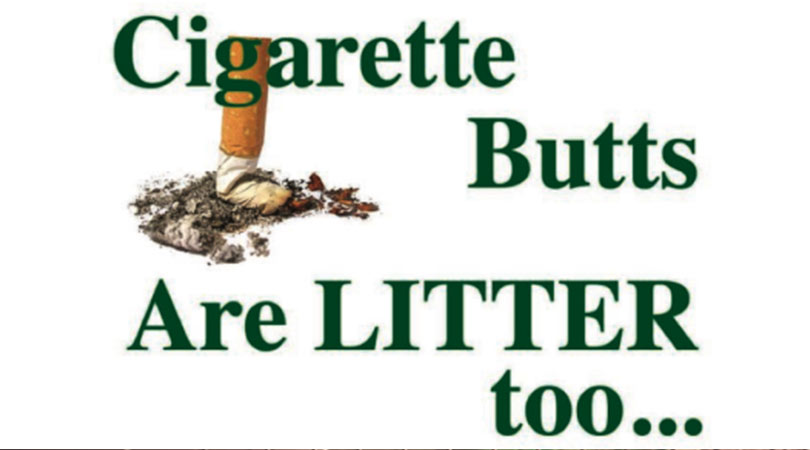 Image of a cigarette with text that says Cigarette Butts are Litter too | Keep Florida Beautiful Blog