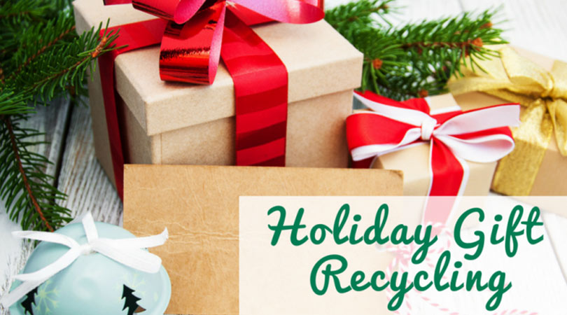 Image of wrapped presents with the text Holiday Gift Recycling | Keep Florida Beautiful