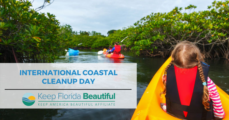 Image of Florida Girl on Kayak with text: International Coastal Cleanup Day | Keep Florida Beautiful Blog