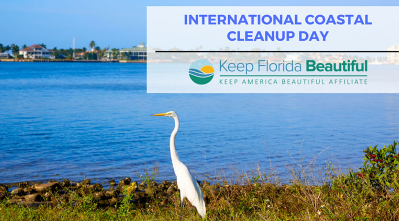 Image of Florida Bird on shore with text: International Coastal Cleanup Day | Keep Florida Beautiful Blog