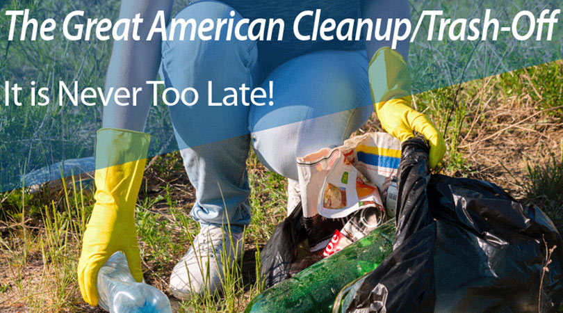 Image of trash cleanup with the text The Great American Cleanup/Trash-Off | Keep Florida Beautiful Blog