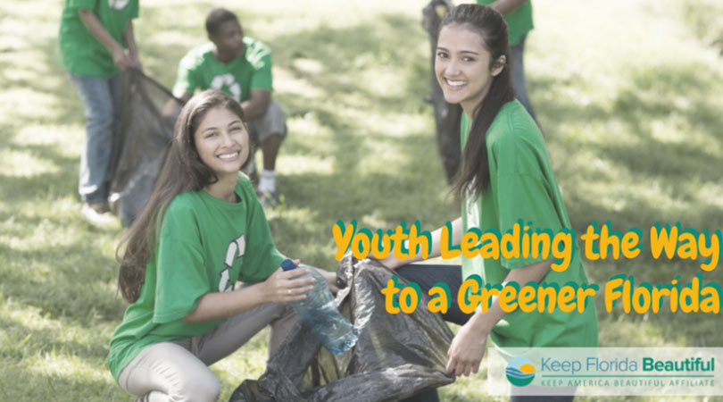 Image of Youths picking up trash with the text Youth Leader the Way to a Greener Florida | Keep Florida Beautiful Blog